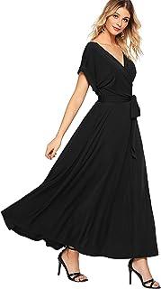 ae5f5cf44dfc3 Milumia Women s Boho Deep V Neck Floral Chiffon Wrap Split Long Maxi Dress