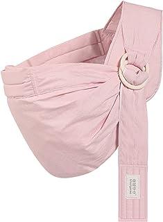 Njiuoa ベビースリング 抱っこ紐 ベビーキャリア 片肩 布 新生児から 授乳カバー 横抱き可 前向き抱っこ おんぶ 対面抱き ぐっすり抱っこひも サイズ調整 通気性 軽量 水洗い 男女兼用 四季兼用 ダークグレー(ピンク)