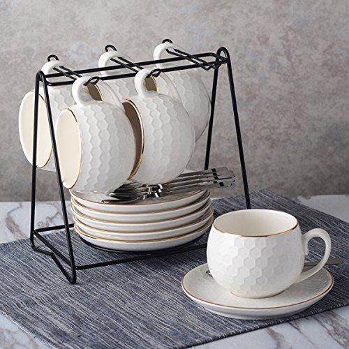 Yosou Home 8OZ Cappuccino Coffee Mug Set Of 6 With Saucer/Spoon/Holder Colorful Tea Cup White