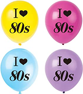 MAGJUCHE I Love 80s Balloons, 16pcs 1980s Retro Themed Party Decorations, Supplies