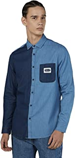 Splash Two-tone Chest Pocket Long Sleeves Cotton Shirt for Men - Navy and Blue, S