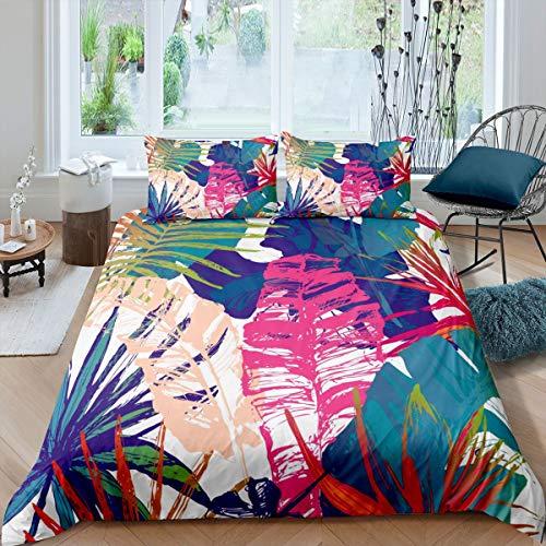 Juego de funda de edredón de hojas de palmera tropicales, juego de cama para niños y niñas, juego de funda de edredón con diseño de plantas de selva, funda de edredón de 3 piezas King