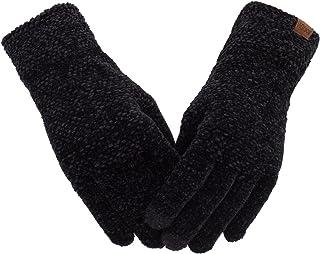 دستکش زنانه صفحه نمایش لمسی زمستانی Chenille Warm Cable صفحه لمسی بافتنی دستکش حرارتی الاستیک کاف