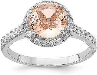 Cheryl M Plata De Ley Circonita y simulado Morganite Anillo–anillo tamaño opciones gama: L a P