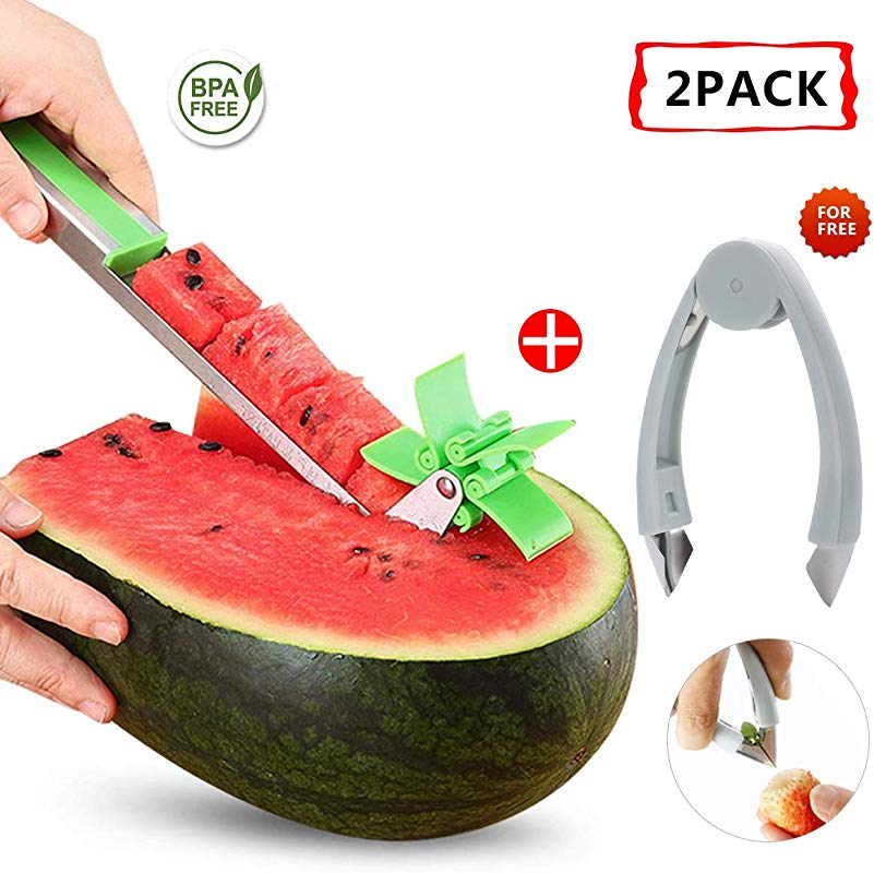 Watermelon Windmill Cutter Slicer Stainless Steel Melon Slicer Knife With Fruit Corer For Kitchen