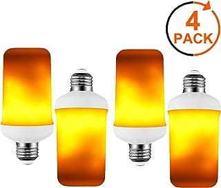 Donpow Luces de llama LED, bombillas de llama realistas parpadeantes de 3W 4 modos, bombillas de efecto de llama E27 para decoraciones navideñas, bombilla de luz LED para luz de porche (Yellow-4Pack)