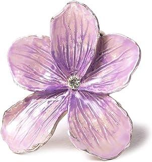 [でぃあじゃぱん] 帯留め 帯留め スミレ 紫 ふじ ラインストーン 花 メルヘン ハンドメイド 和装小物 ピューター