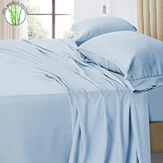 """PANDATEX 400TC 100% Bamboo Viscose Bed Sheets Set Cooling Softest Hypoallergenic Eco-Friendly Bedding Sets with 18"""" Deep Pocket (Queen Size, Light Blue)"""