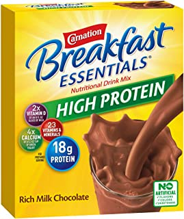Carnation Breakfast Essentials High Protein Powder Drink Mix, Rich Milk Chocolate, 8 Count per pack, 10.56 Ounce, Pack of 6 (Packaging May Vary)
