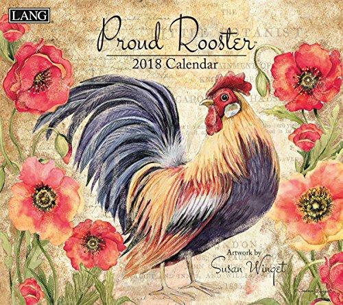"Lang 18991001936 LANG - 2018 Wall Calendar -""Proud Rooster"", Artwork by Susan Winget - 12 Month - Open 13 3/8"" X 24"""