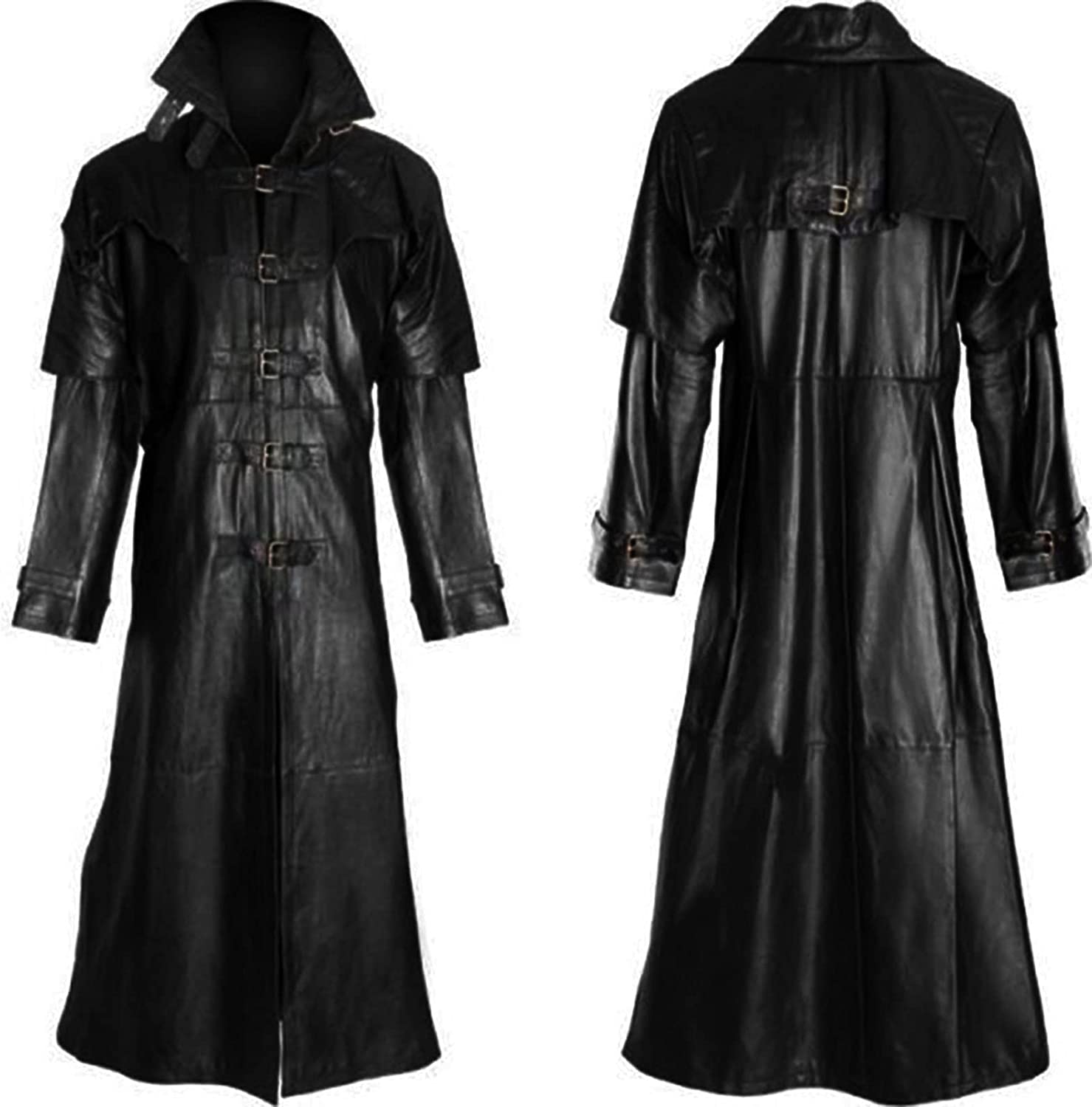 Men's Fashion Officer Military Black Leather Long Trench Coat Outwear V1450