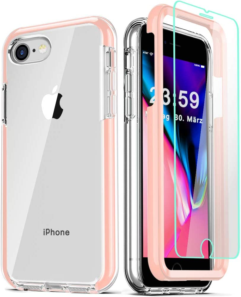 COOLQO Compatible for iPhone 8 /iPhone 7 /iPhone 6S/6 Case, with 2 x Tempered Glass Screen Protector Clear 360 Full Body Coverage Hard PC+Soft Silicone TPU 3in1 Shockproof Phone Protective Cover Pink