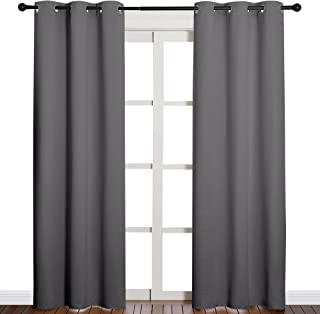 NICETOWN 3 Pass Microfiber Noise Reducing Thermal Insulated Solid Ring Top Blackout Window Curtains/Drapes (2 Panels, 42 x...