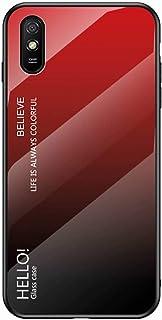 جراب EnjoyCase لهاتف Xiaomi Redmi 9A، غطاء واقٍ خلفي من الزجاج المقسى 9H مع إطار من السيليكون الناعم رفيع للغاية، أحمر متدرج