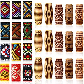 27 Pieces Hair Tube Beads and Fabric Dreadlock Beads DIY Hair Braiding Jewelry Accessories Mix Hair Braid Cuff Clip for Men Women Hip-Hop Style  Spiral Style Beads
