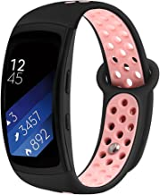 Band Compatible Gear Fit2 Pro /Fit2, Kmasic Silicone Sport Replacement Strap for Samsung Gear Fit 2 Pro & Fit 2, Black/Pink