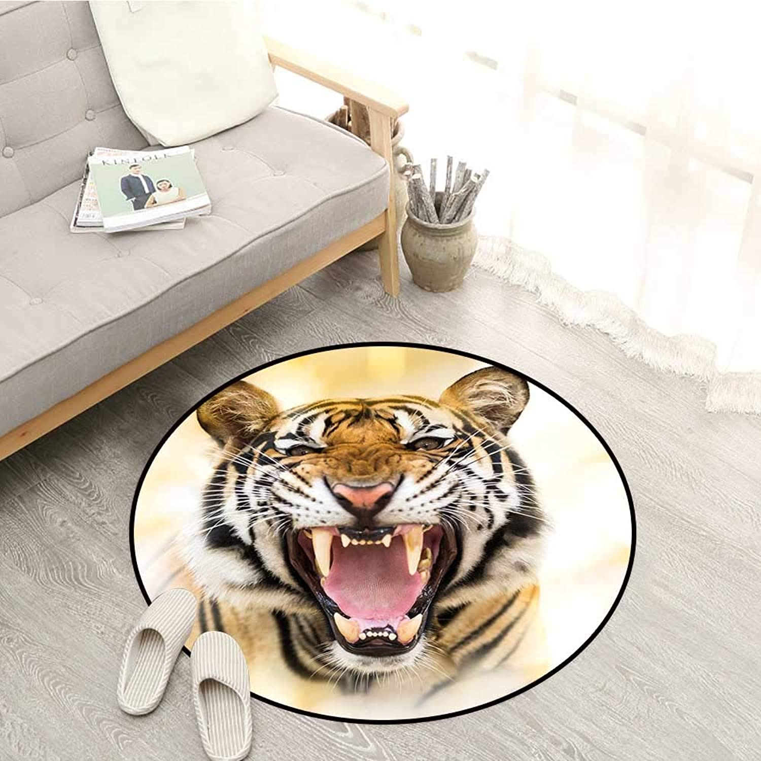 Tiger Living Room Round Rugs Young Panthera Tigrey Altaica Growling in Angry Manner Portrait of a Young Large Cat Sofa Coffee Table Mat 4'11  Multicolor