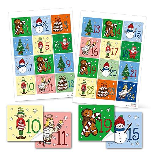 Adventskalendergetallen 1 tot 24 om te knutselen voor kinderen 6 x 6 cm kleurrijke sticker Adventskalender cijfers kerstkalender papieren zakken lijmen rood blauw groen geel