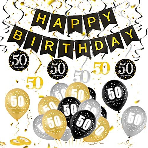 50 Anni Palloncini Compleanno, Palloncini numeri 50 Nero Oro Argento, Kit Decorazioni 50 Compleanno, 50 Nero Oro Compleanno Festa Decorazioni Foil Palloncini, Ornamento a spirale per il 50 compleanno