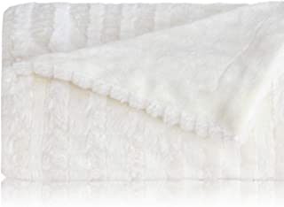 Bedsure Faux Fur Reversible Fleece Throw Blanket – Super Soft Fuzzy Lightweight Throw for Boys Girls Adults (50 x 60 inches, Ivory)