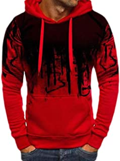 FSSE Men's Letter Print Hooded Casual Gym Workout Sport Pullover Sweatshirt