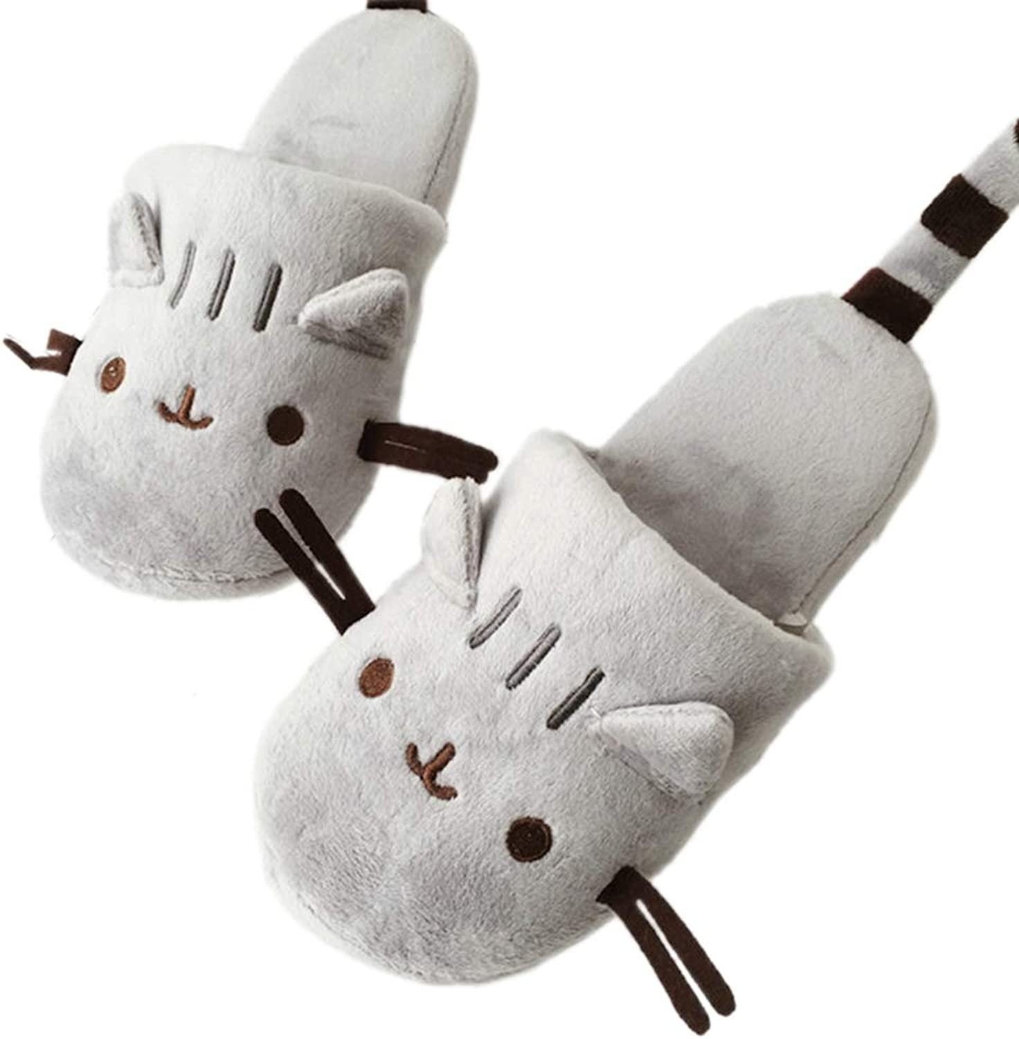 Cat Animal Indoor Slippers Adult Cartoon House Women Soft Indoor House GILR Winter Faux Plush shoes Flats