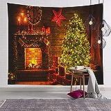 Tapiz para colgar en la pared de la chimenea, revestimientos de tela para Navidad, Año Nuevo, 150 x 200 cm, decoración del hogar