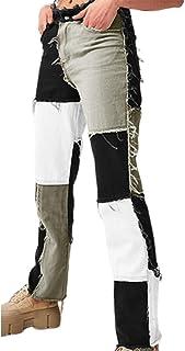 Women's Patchwork Pants Hight Waist Distressed Straight...