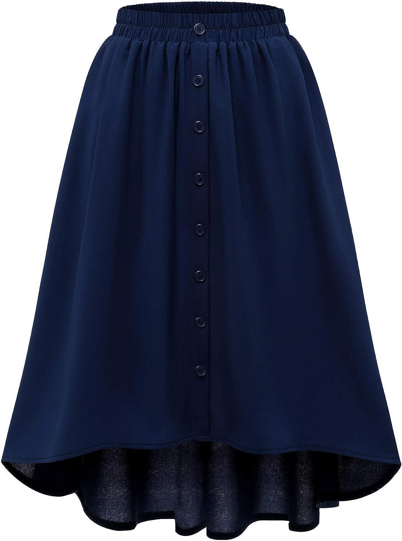 Meetjen Women's Midi Skirt High Elastic Waist A-Line Flowy Swing Skirt with Pockets