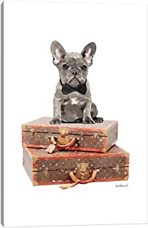 """iCanvas GRE236 Luggage Grey Frenchie Canvas Print by Amanda Greenwood, 40"""" x 26"""" x 0.75"""" Depth Gallery Wrapped"""