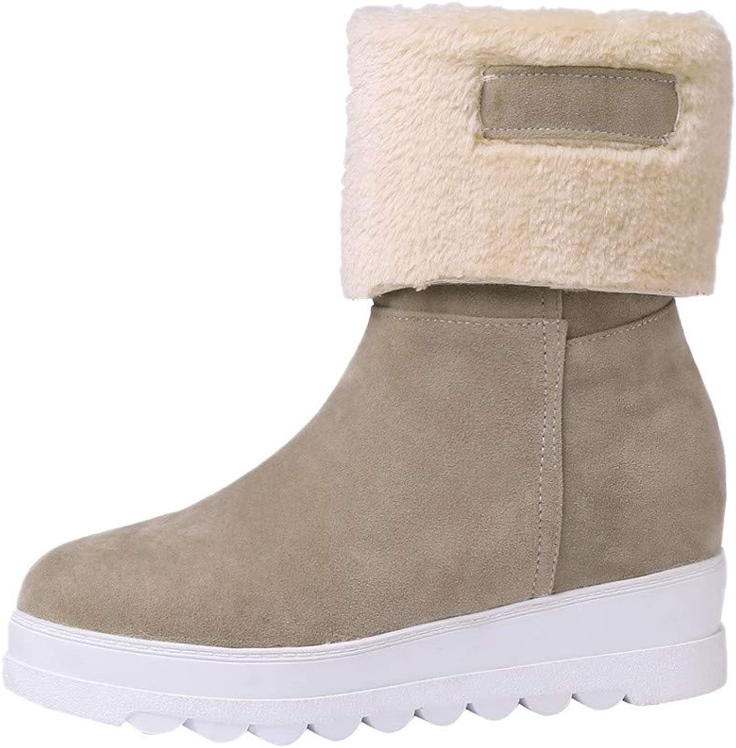 Theshy Winter Women Suede Round Toe Wedges shoes Keep Warm Slip-On Plush Snow Boots