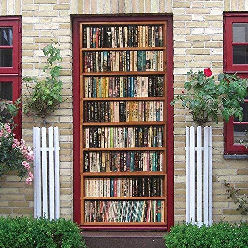 LuSeven decoracion hogar pared Librería libros colección conocimiento 40x120cm adhesivos para puertas, adhesivos decorativos para la pared de la puerta de casa en 3D Etiqueta De Puerta