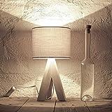 Lámpara de mesa escandinava, mesa de noche, trípode, de madera, plástico y madera, Madera, gris., Gestell Holz hell, E14