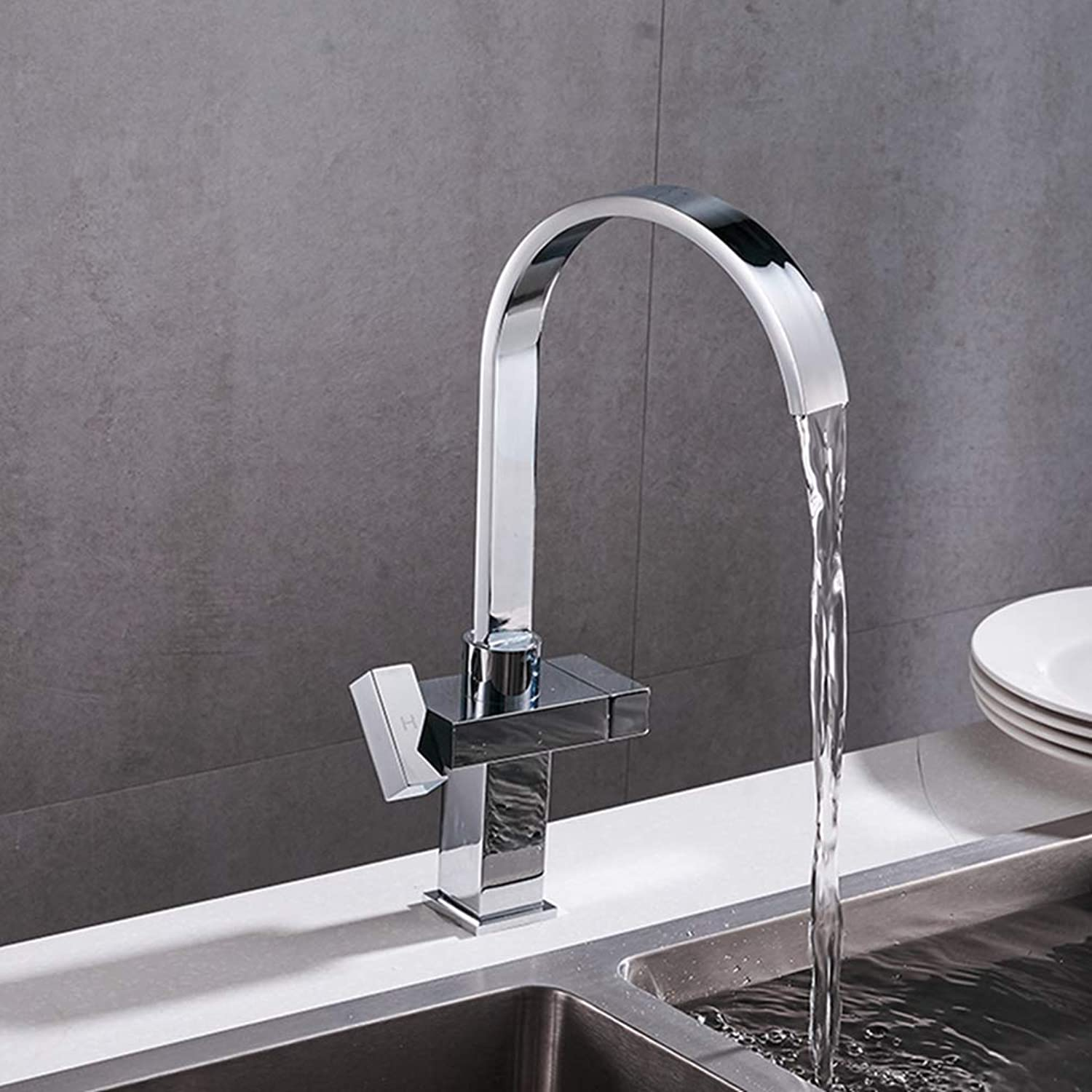 FZHLR Modern Simple Waterfall Kitchen Faucet Square Dual Handle Stainless Steel Basin Faucets 360 Swivel Chrome Mixer Sink Tap
