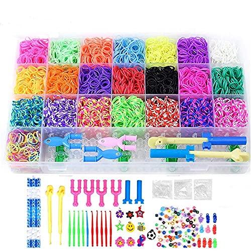 6800 pcs Caja Pulseras Gomas de Goma DIY Cintas de Telar Kit de para Niños Juguete Collar