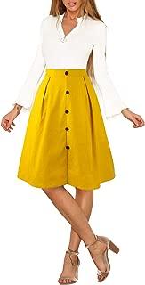 Blooming Jelly Womens Button Up Skirt A Line Elastic Waist Pockets Midi Length Pleated Zipper Midiskirt