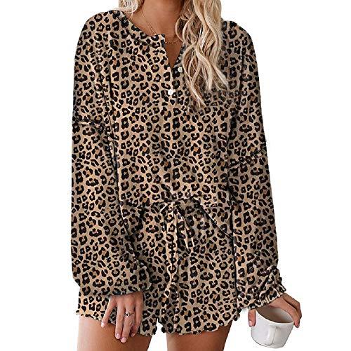 Lilon Tie Dye - Juego de pijama para mujer, con volantes impresos, manga larga, 2 piezas, ropa de noche, camisón con pantalones cortos Con estampado de leopardo. M