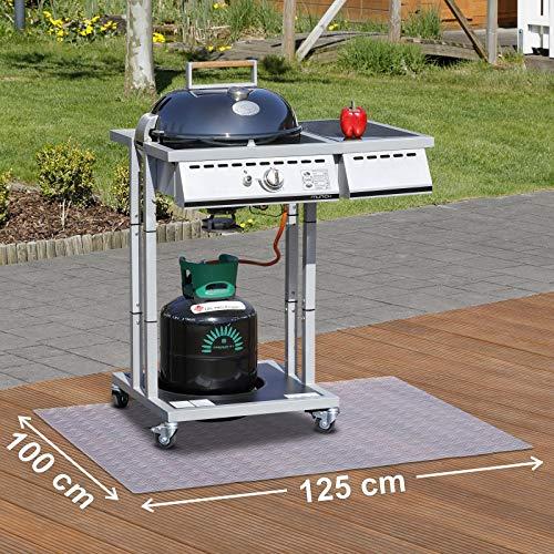 Paderbest24 Bodenschutzmatte Grillunterlage Grillschutzmatte TRANSPARENT mit Riffelblechoptik 125x100cm