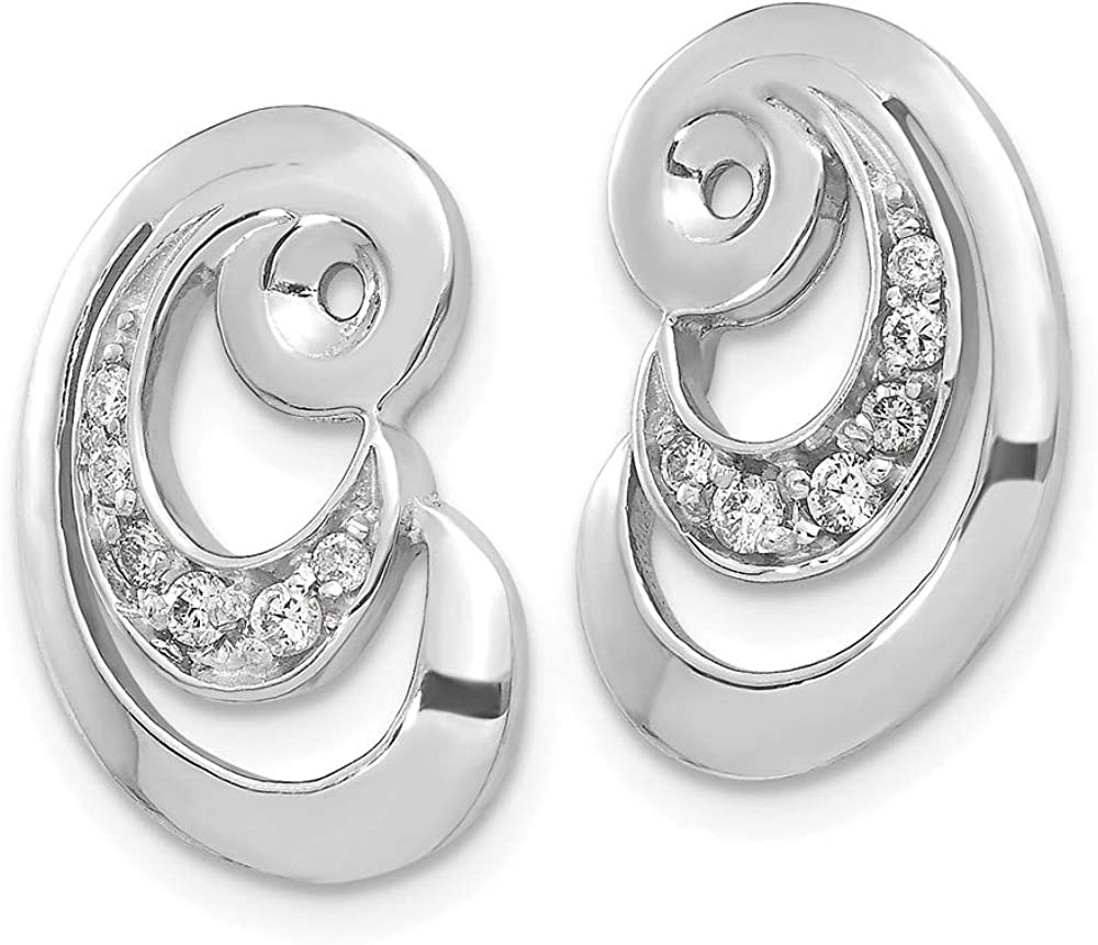 Solid 14k White Gold Unique Curl White Diamond Earring Jackets Mountings - 17mm x 11mm
