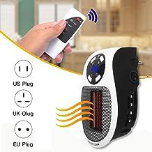 SQL Mini Enchufar Calefactor eléctrico,Temporizador portátil Calefacción de Aire eléctrico 500W, con tecnología de cerámica térmica para Calentar la Salida Negra, para Oficina, hogar