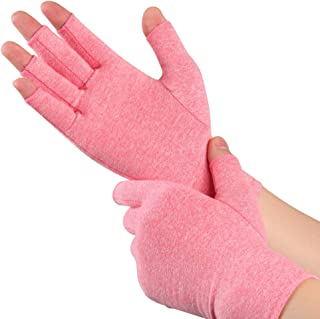 Arthritis Compression Gloves Fingerless Anti-Slip Alleviate Rheumatoid Pains Ease Muscle Tension Relieve Carpal Tunnel Ache for Women and Men (Pink Meduim)