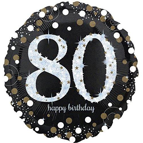 paduTec Zahlenballon Ballon Folienballon Luftballon - 80 Jahre - Happy Birthday Geburtstag - geeignet zur befüllung mit Luft oder Helium Gas - UNGEFÜLLT - zum selber füllen