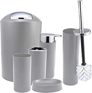 iMucci Bathroom Accessories Set - with Trash Can Toothbrush Holder Soap Dispenser Soap and Lotion Set Tumbler Cup 6pcs a S...