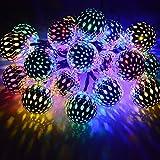Dephen Solar String Lights Moroccan Ball Multicolor 15ft 20LED Globe...