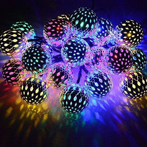 Dephen Solar String Lights Moroccan Ball Multicolor 15ft 20LED Globe Fairy...