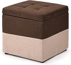LYQQQQ Voetkruk, opbergdoos, poppenbank, kruk, vierkante poef, afneembare washoes, zitkussen, voetensteun voor woonkamer, ...
