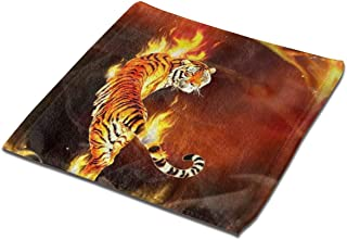 NCNET Dish Cloths,Face Towels,Kitchen Cleaning Tablecloth,Skin-Friendly Square Washing Dishcloths,3D Print Fire Tiger Wallpaper