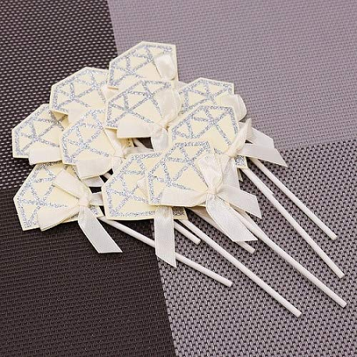 10pcs Lovely Diamond Cupcake Toppers Pink Happy Birthday Cake Insert Cards DIY Paper Satin Bowknot Wedding Decoration Beige