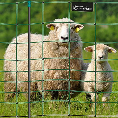 VOSS.farming Premium Elektronetz 108cm farmNET® 50m Schafzaun Ziegennetz Pfähle 2 Spitzen grün