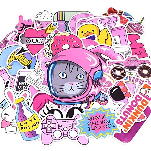 JIAHUI 20 Styles Vsco Stickers Things 50 PCS Pink Cold Accumulator Girl Stickers For Laptop Phone Refrigerator Skateboard Suitcase Sticker (Colore : Summer I)